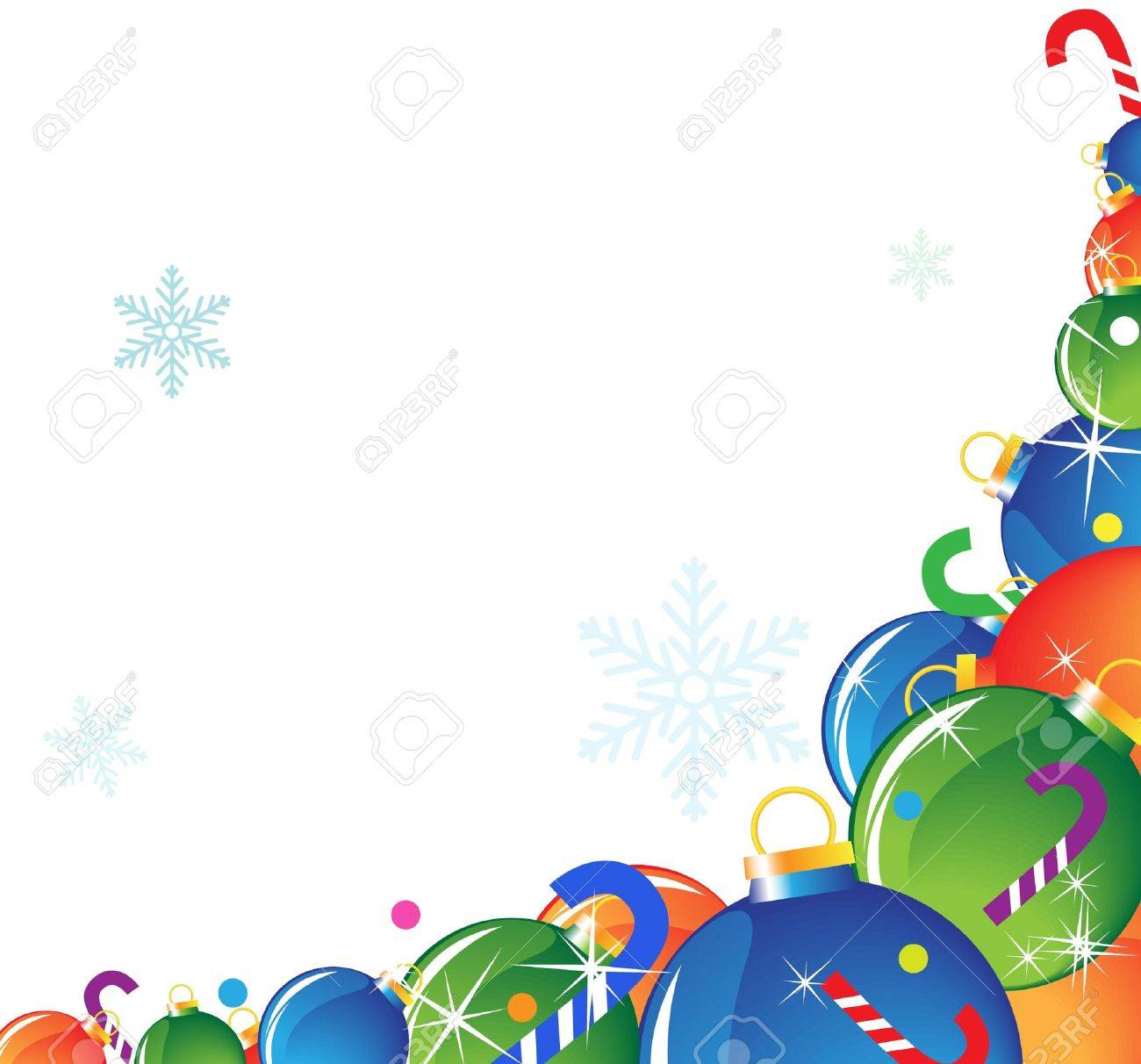 Pile of Christmas balls and candy on a white background Stock Vector - 11528030