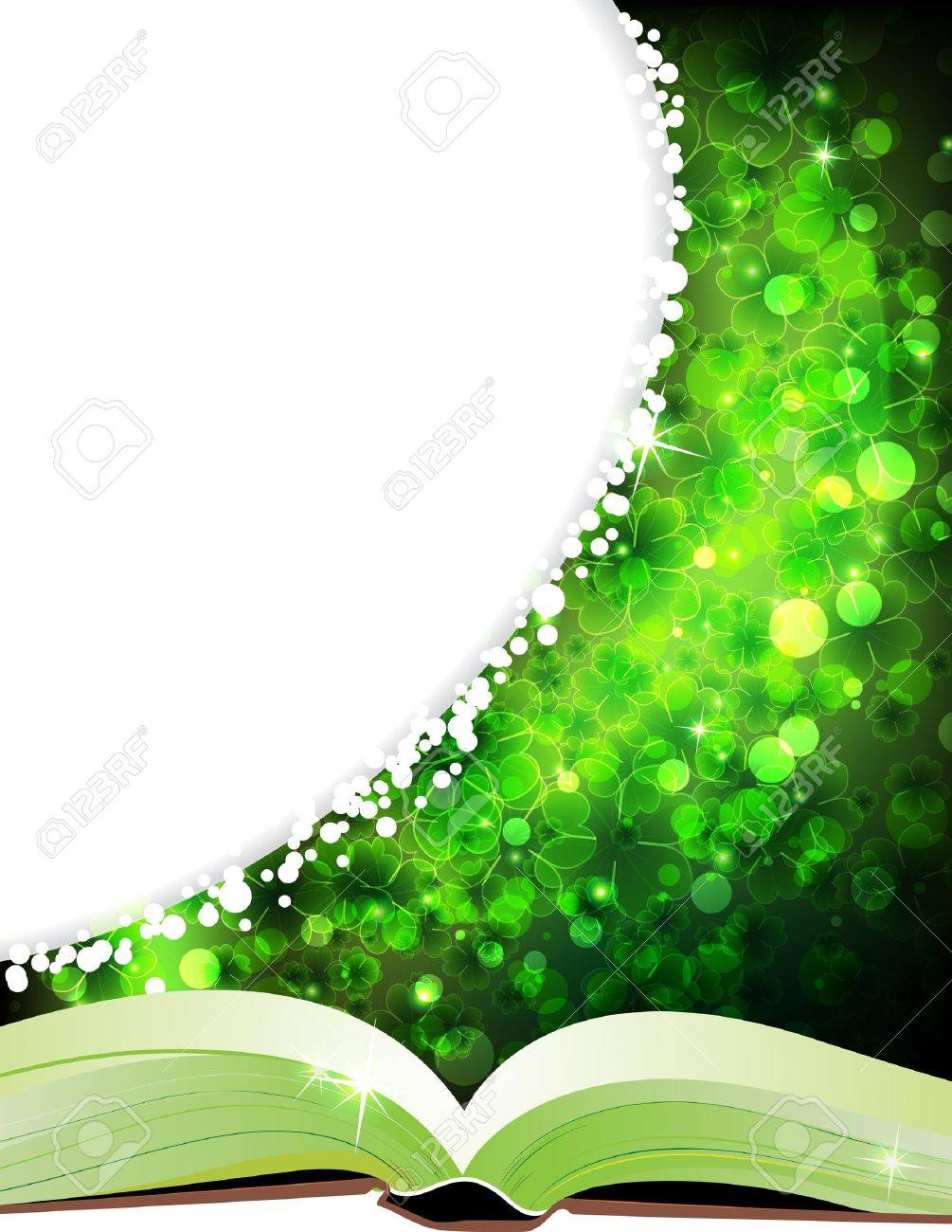 Fairy tales book on a magic four-leaf clover background - 12828605