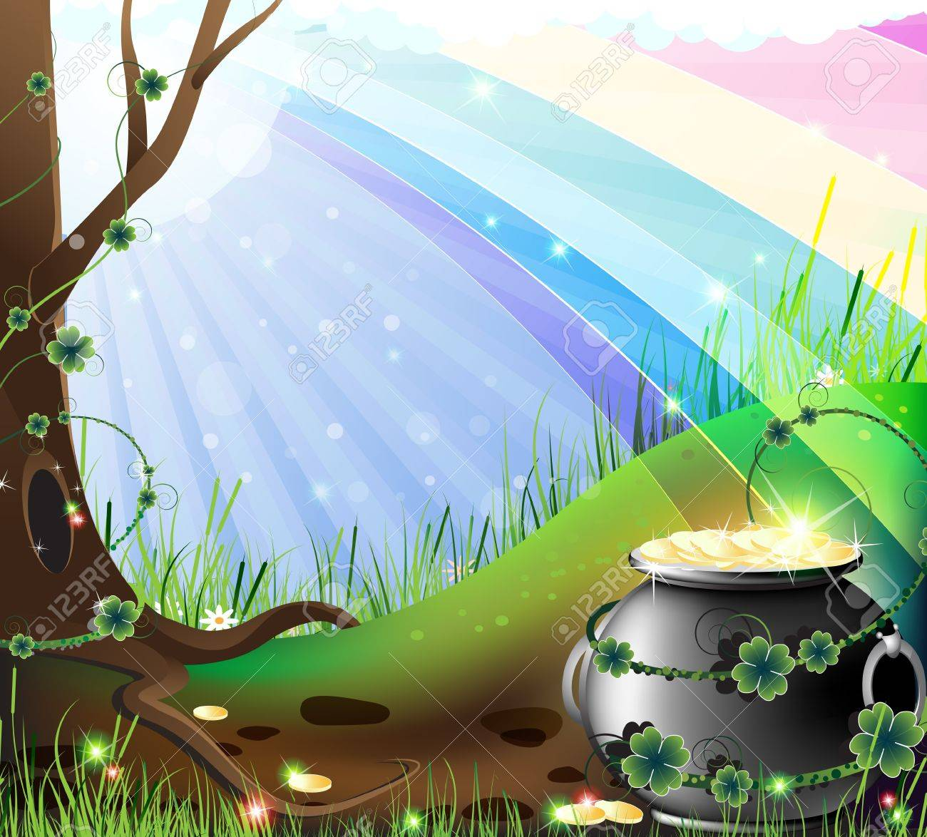 Rainbow shows the way to the lawn to the hidden treasures of the leprechaun - 12828608