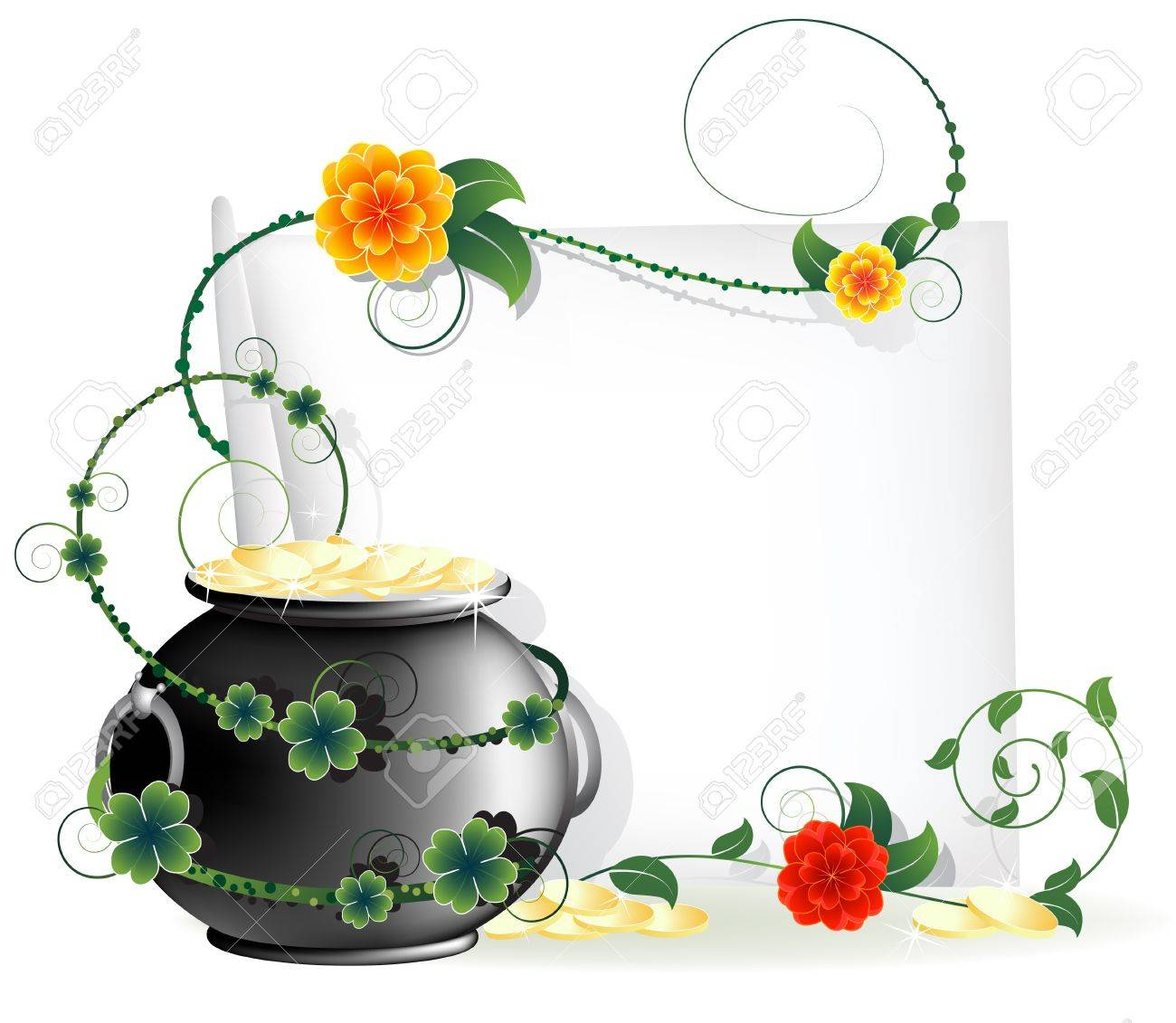 Kettle with gold coins and a blank sheet of paper entwined with ivy  St Patrick s Day abstract background Stock Vector - 12828609