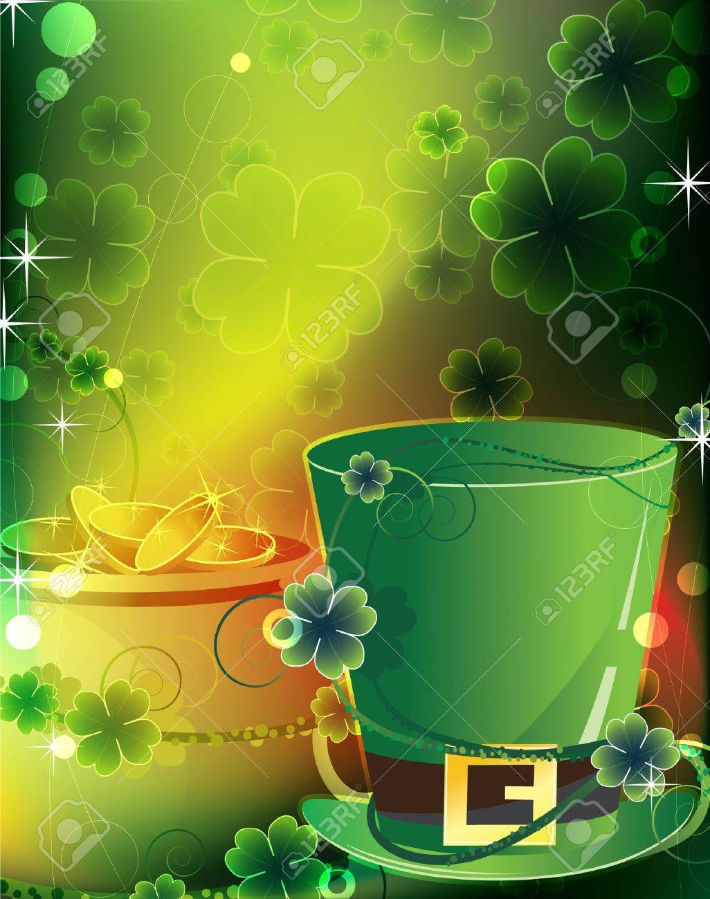 Leprechaun hat and a pot of gold on floral background St Patrick s greeting card - 12828614