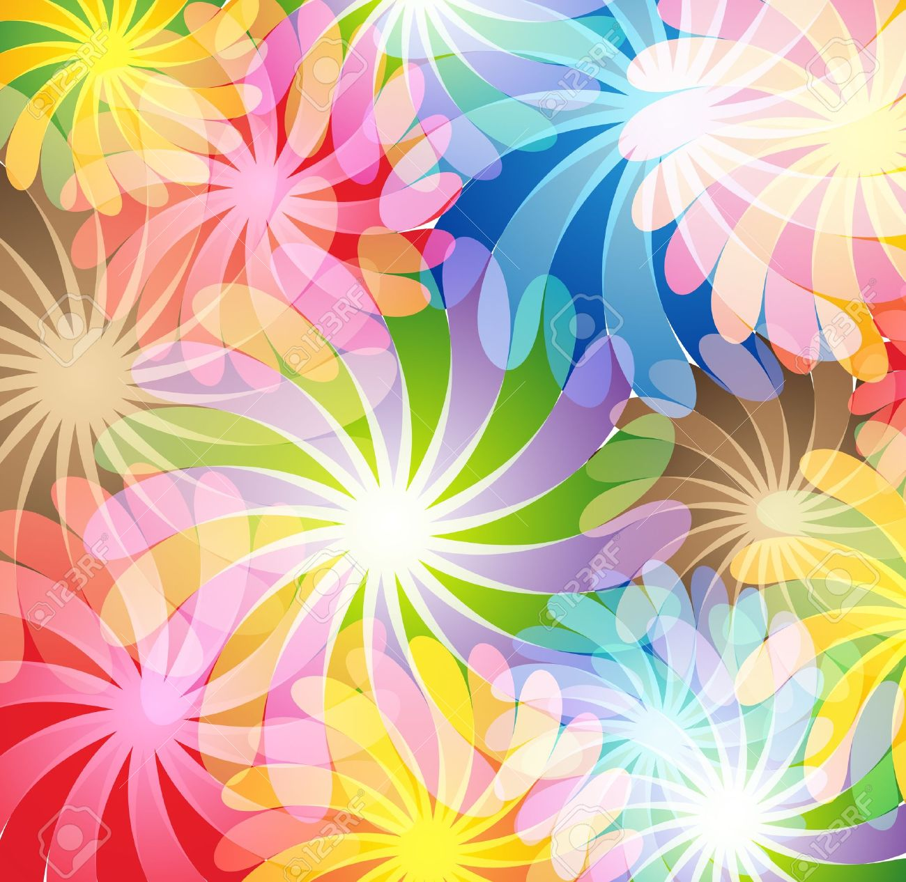 Bright transparent flowers Abstract background - 12828623