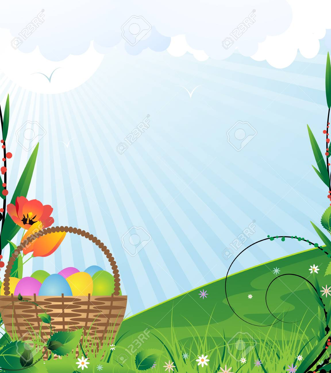 Basket with Easter eggs on a green meadow Stock Vector - 12828610