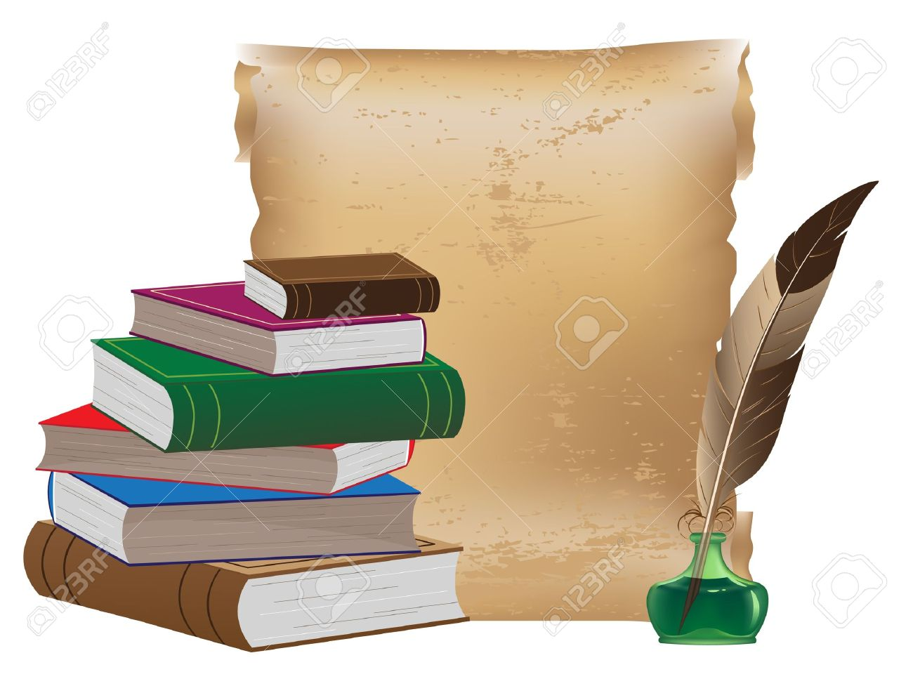 Pile of old books, ancient manuscript, inkwell and feather - 13187812
