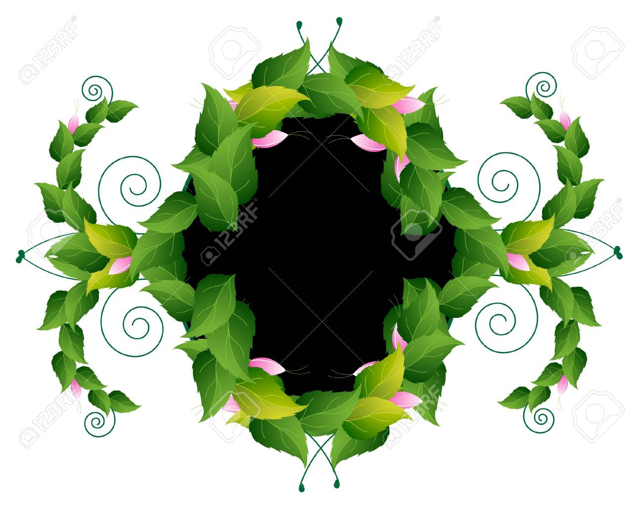Whimsically curved frame of the spring leaves and flowers Stock Vector - 14258453