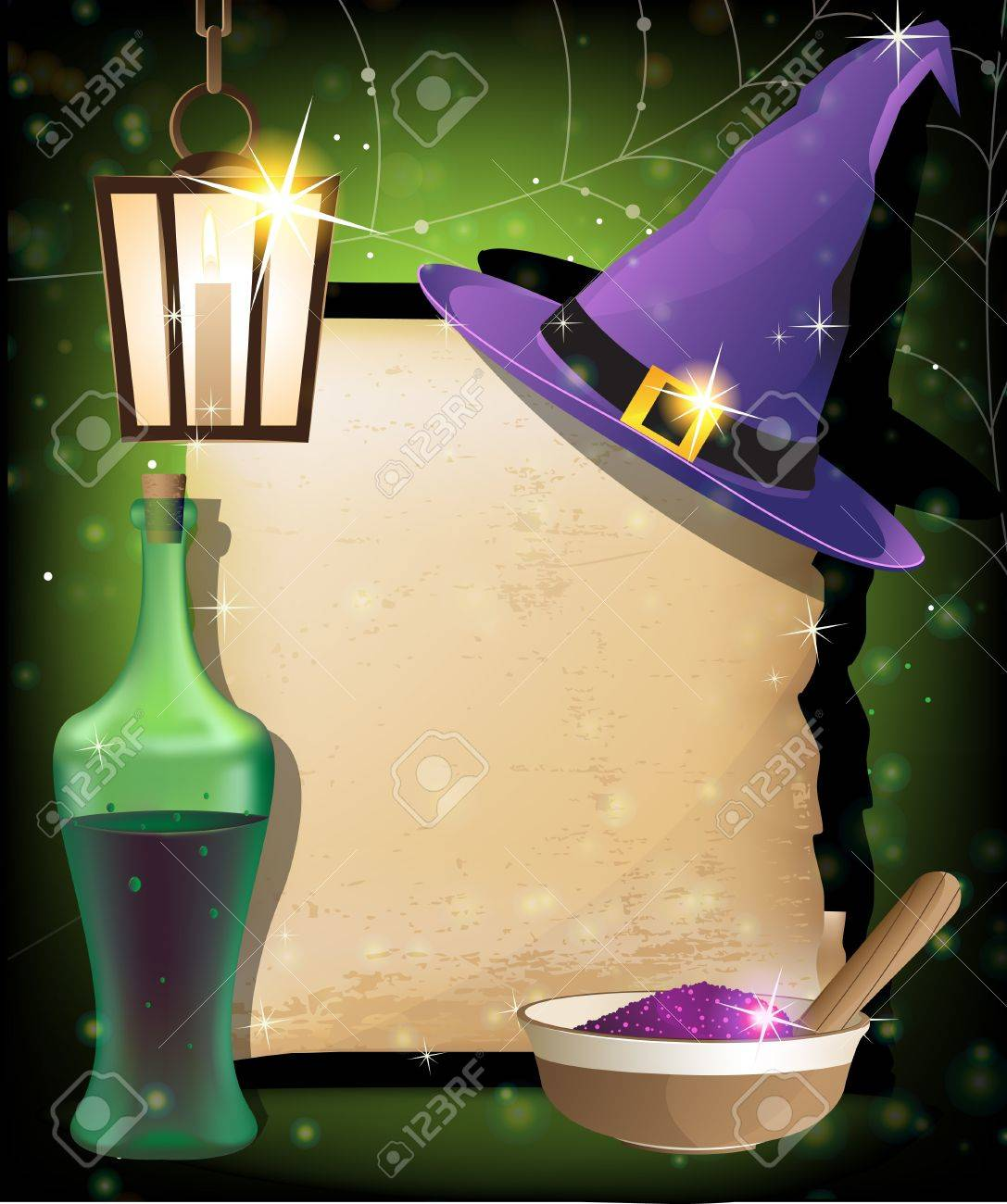 Witch hat, lantern, bottle of potion,  mortar with powder and ancient manuscript on a sparkling background  Magic accessories Stock Vector - 15095001