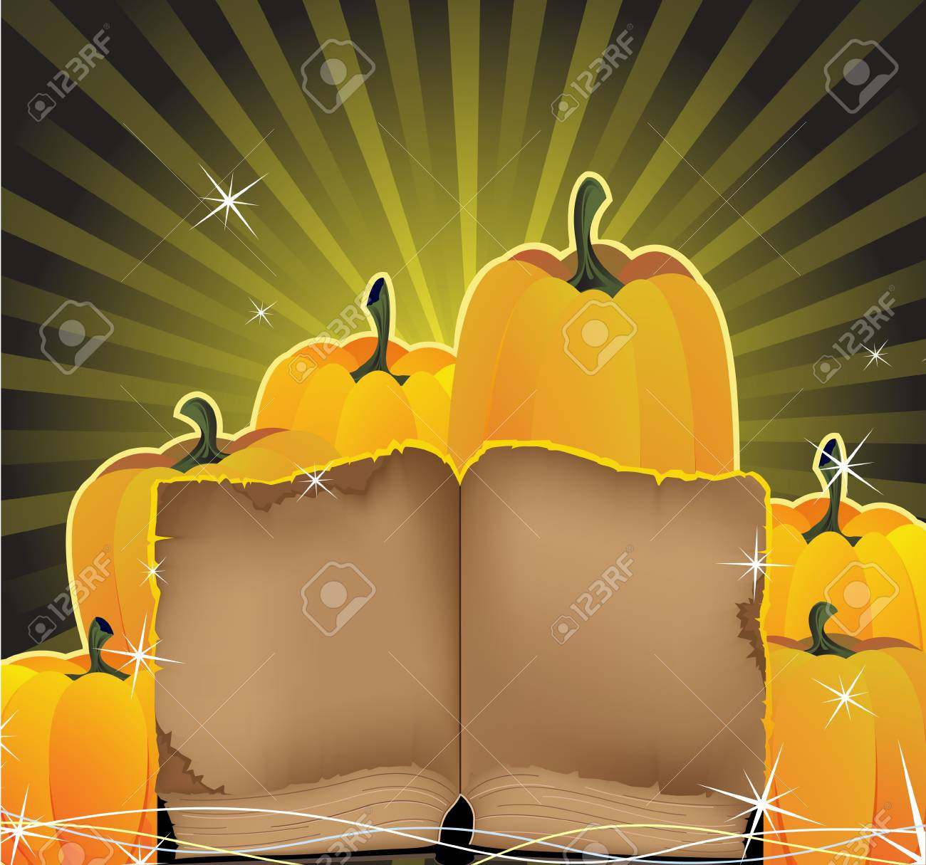 Ripe pumpkins and the ancient book on a golden shining background Stock Vector - 15094966