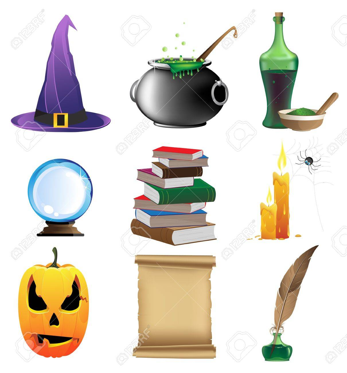 Halloween set of witchcraft tools Nine magic icons on white background - 15922588