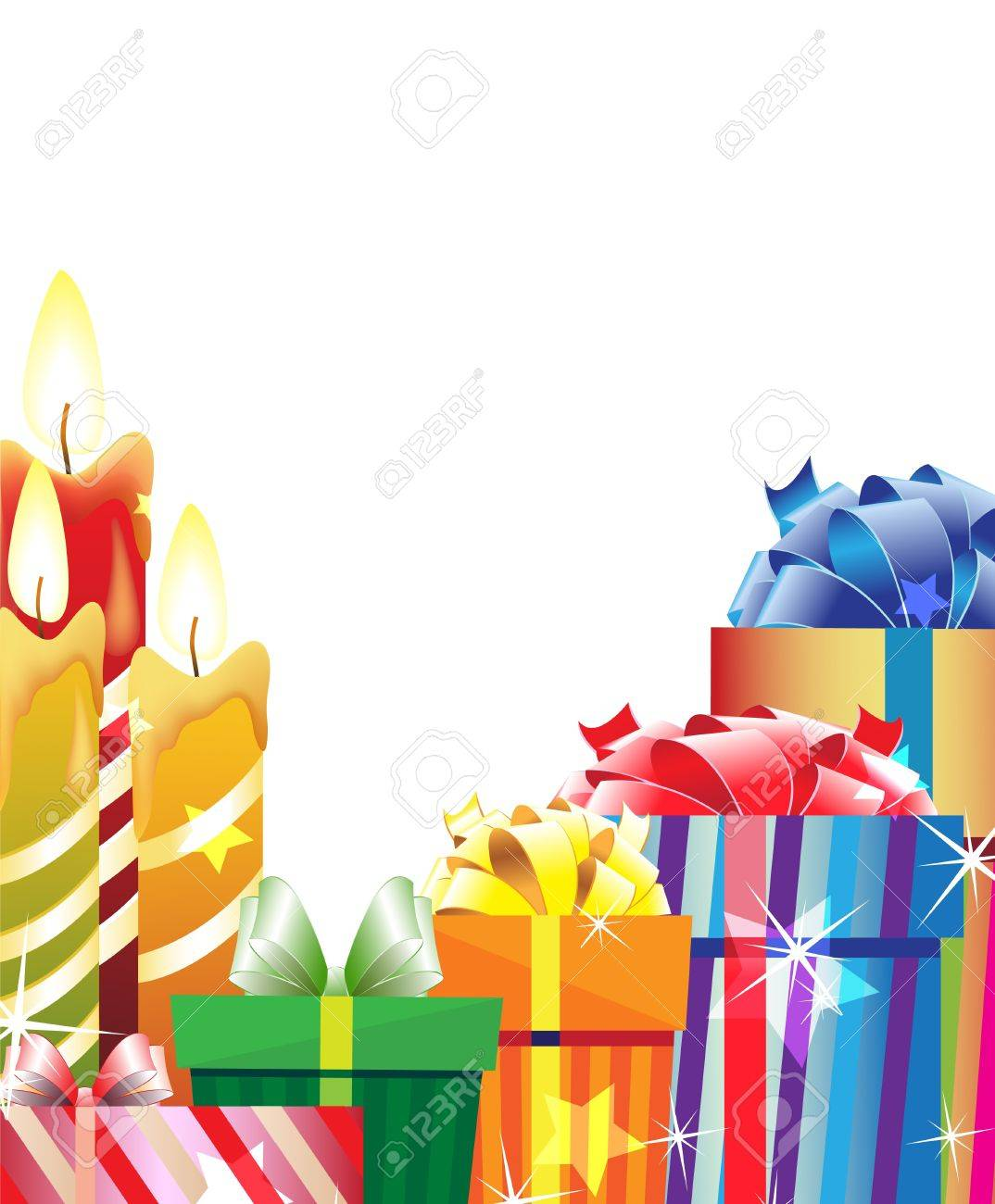 Gift boxes and burning candles on a white background Stock Vector - 16118966