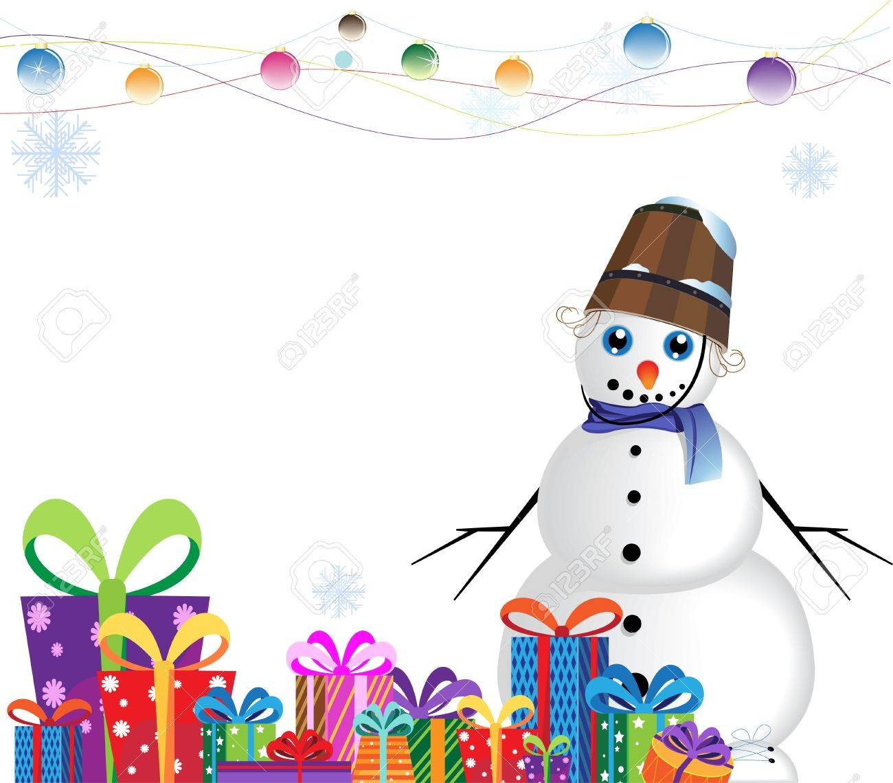 snowman with a bucket on a head near a heap of gifts on a white background Stock Vector - 16420346