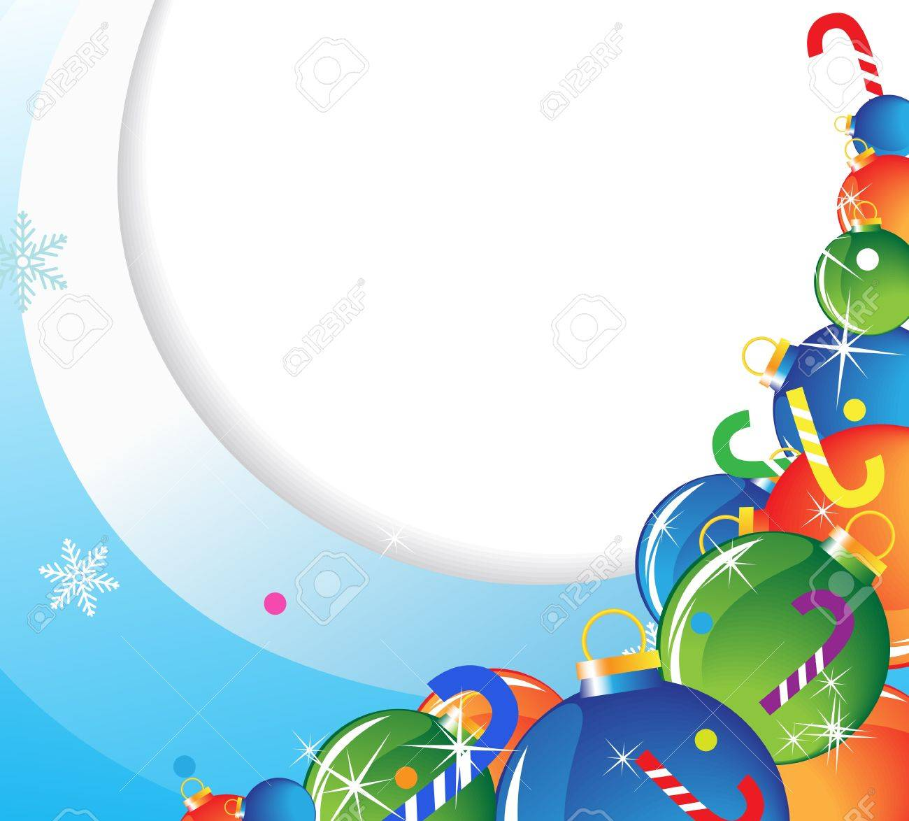 Christmas balls and candy on a blue wavy background Stock Vector - 16420344