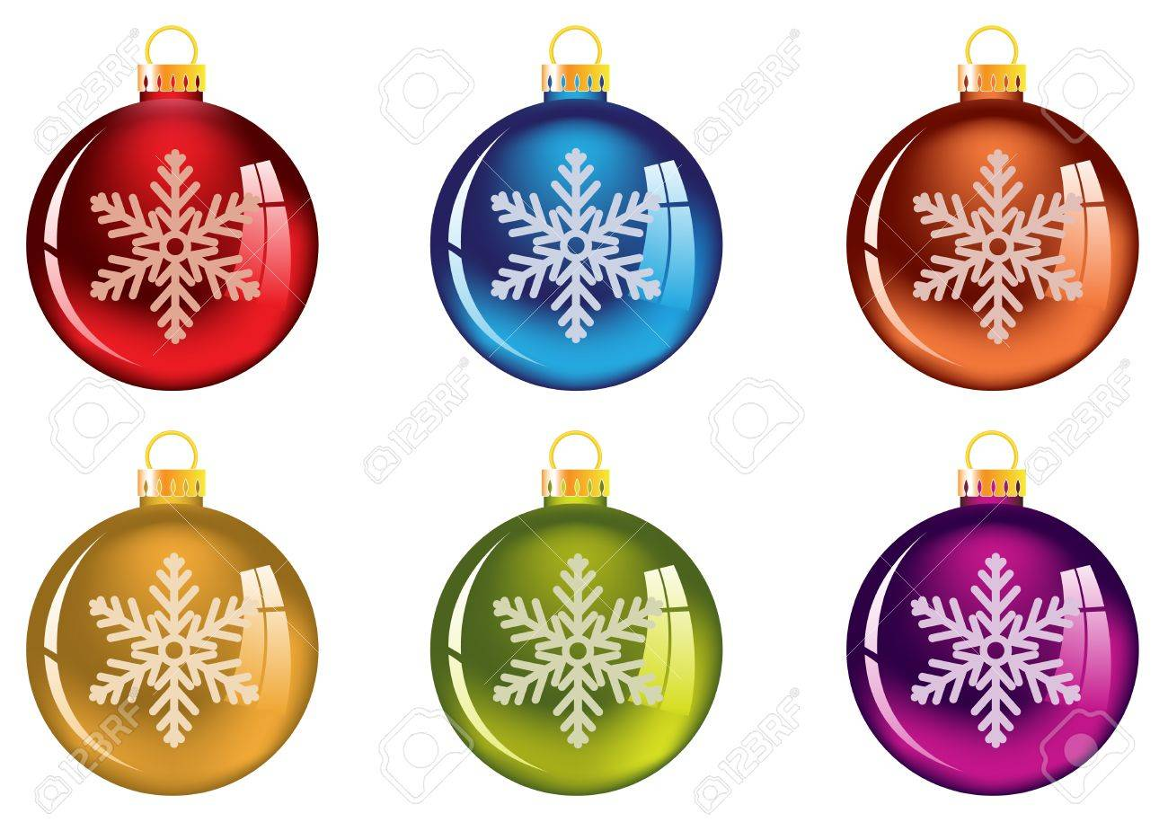 Bright Christmas decorations with snowflake. Isolated on white - 16420359