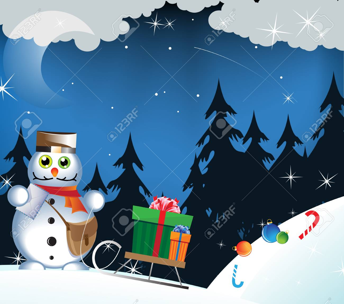 Amusing snowman-postman carries gifts on a sledge Stock Vector - 16420364