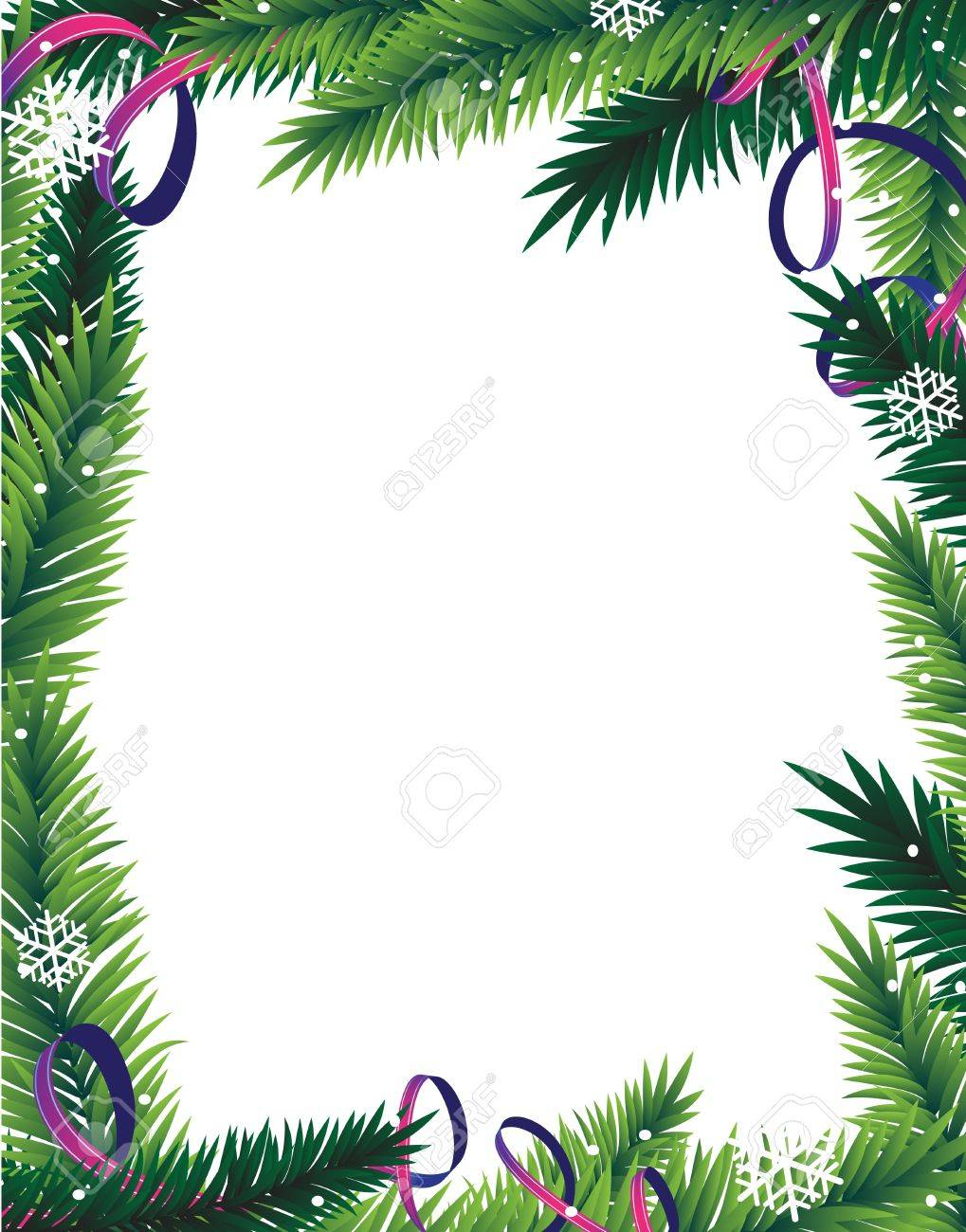 Fir tree branches and tinsel on a white background Abstract Christmas frame - 16480459