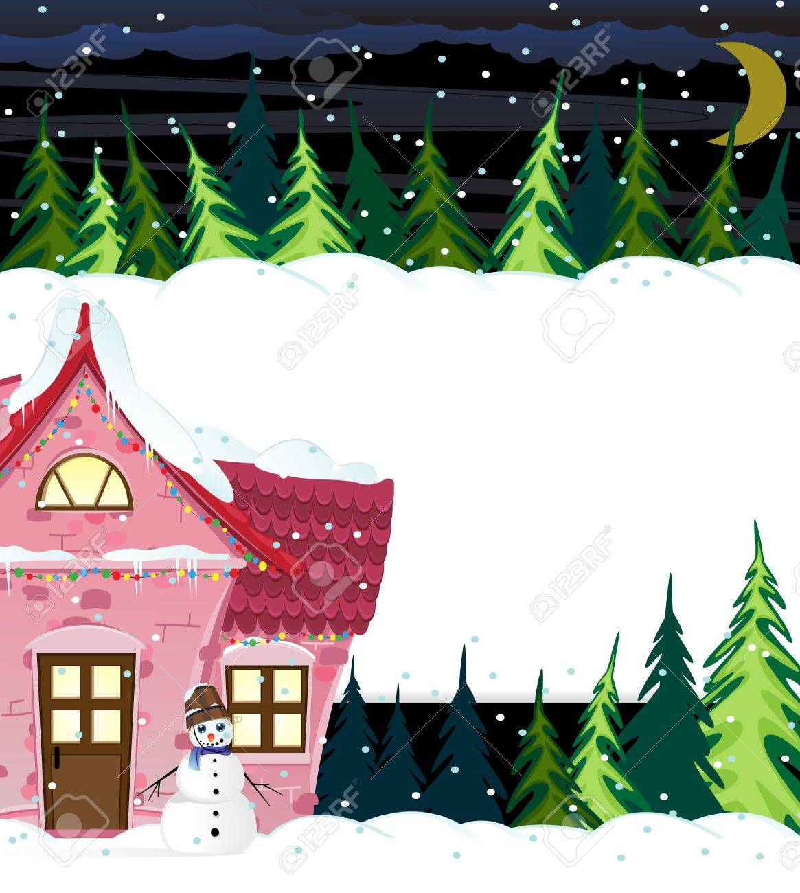Small house with illuminated windows in night winter forest Stock Vector - 16480452
