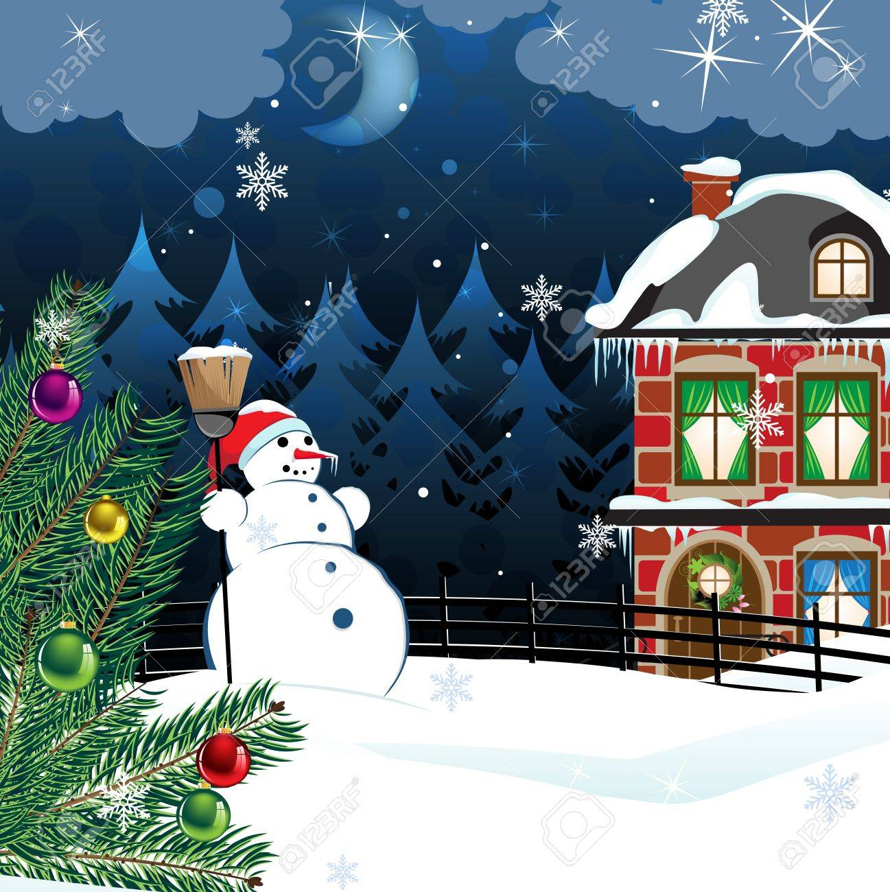 snowman with a broom and a Christmas tree in the yard of a snowcovered two-story brick house. Winter country landscape - 16480488