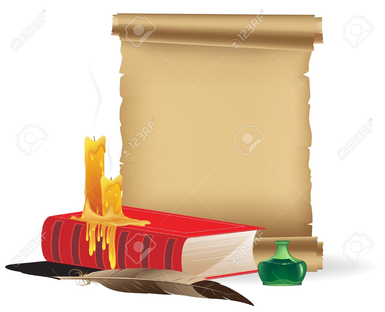Book, candles, parchment, inkwell and a feather on a white background Stock Vector - 16704312