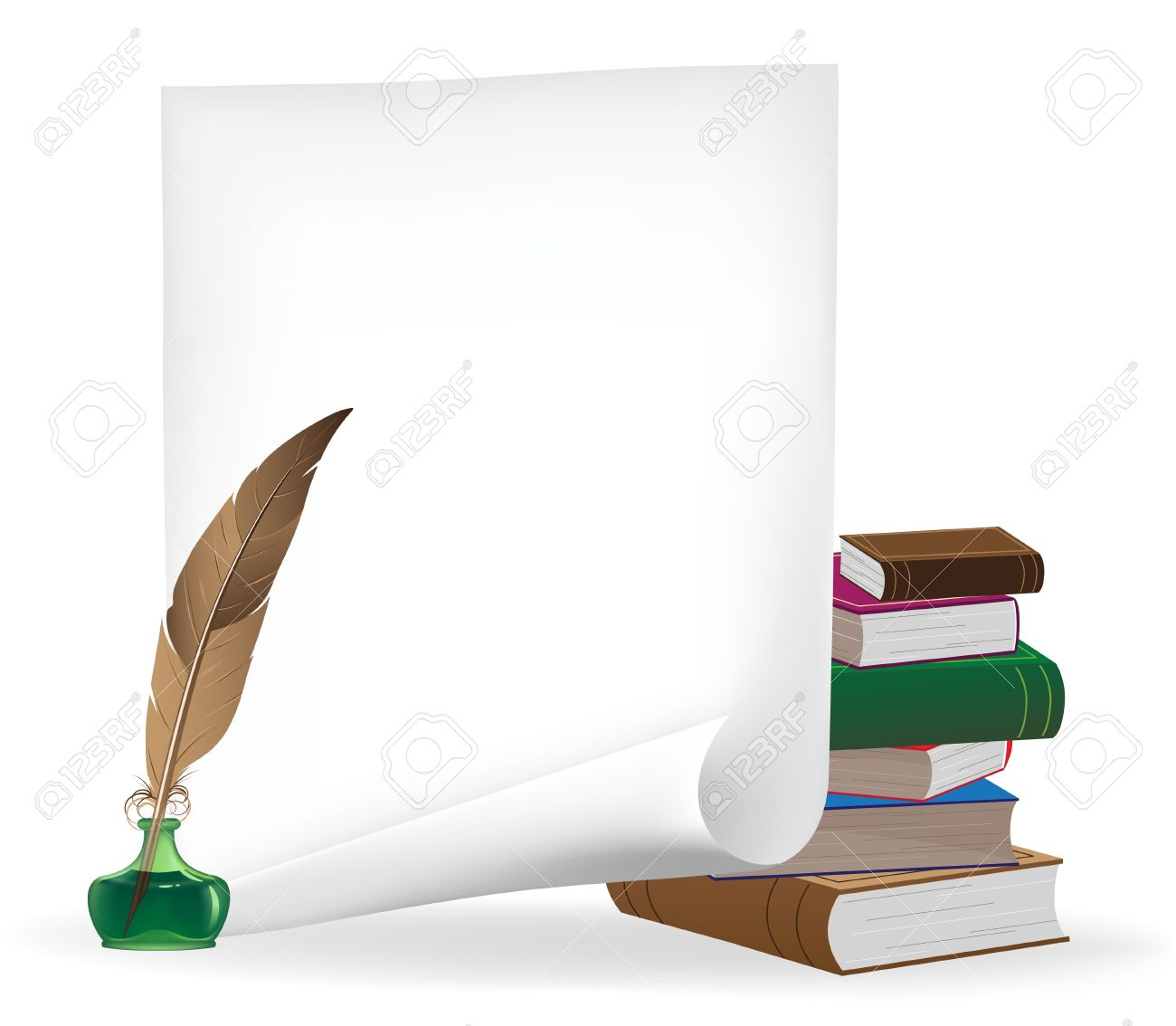 Pile of old books, white sheet of paper, inkwell and feather Stock Vector - 16704379