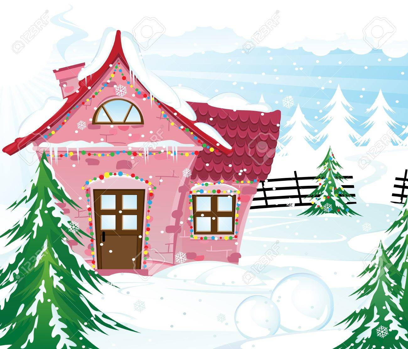 Pink house in a snow covered pine forest Winter landscape - 16704311