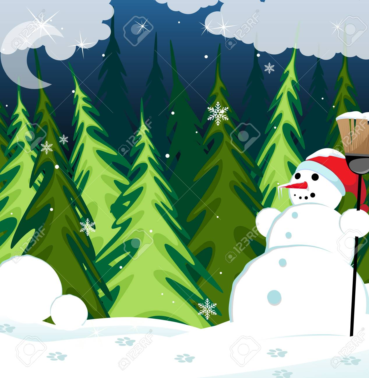 Snowman in a red cap with a broom in the winter coniferous forest Stock Vector - 16704385