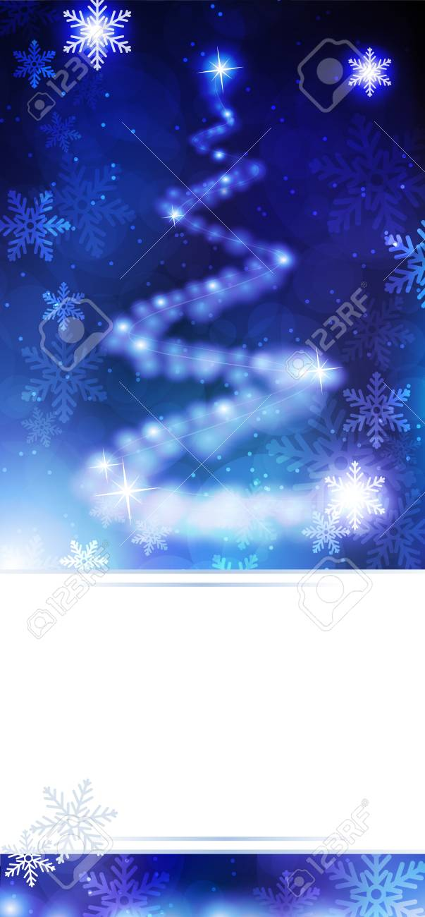 Abstract christmas tree on a blue sparkling background Stock Vector - 17021748
