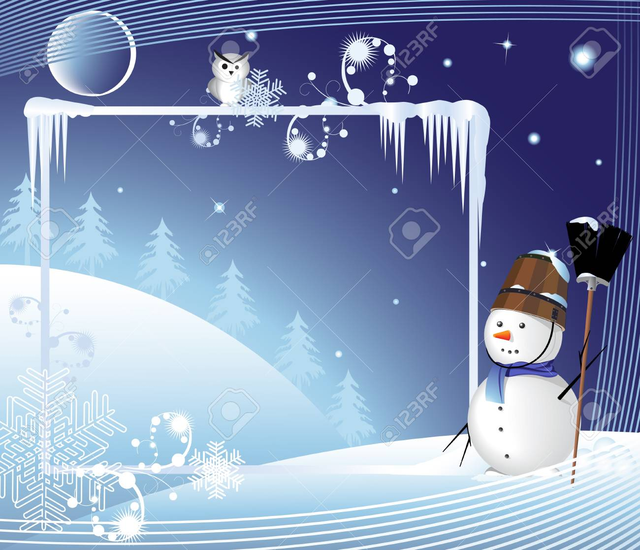 Snowman with a broom on a night winter background Stock Vector - 17021749