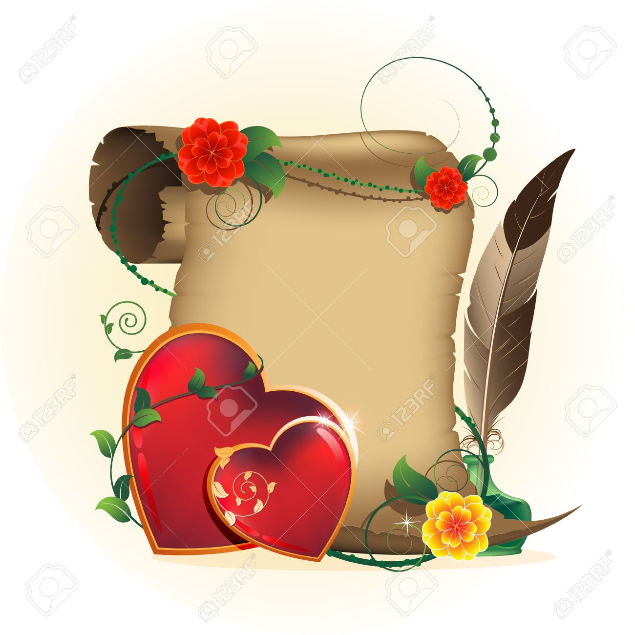 Two shining hearts with a floral pattern, parchment, inkwell and feather Valentines Day romantic card - 17466207