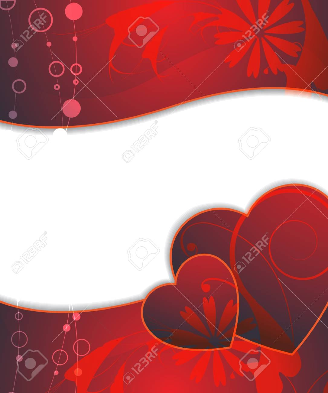 Claret hearts on the floral background Stock Vector - 17466195