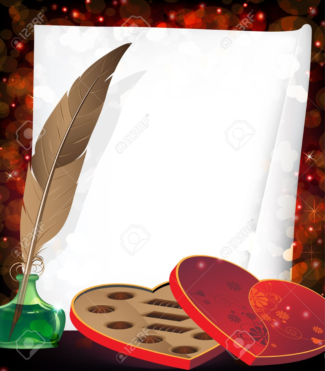 Box of chocolates, inkpot with feather and sheet of paper on a red background with transparent hearts Stock Vector - 17529225