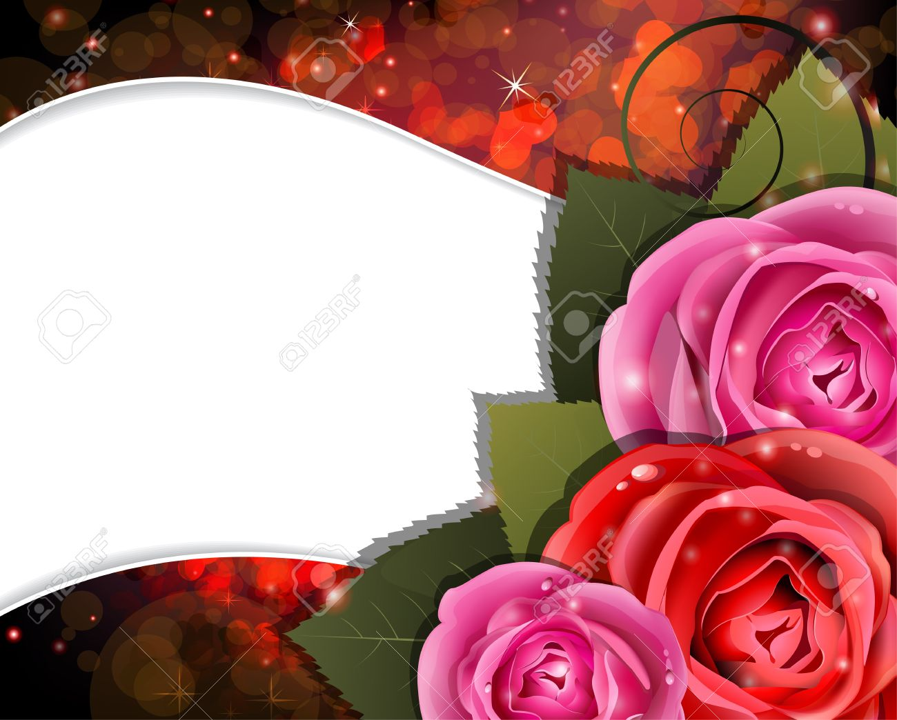 Roses on a red background with transparent hearts  Valentines Day card Stock Vector - 17529223