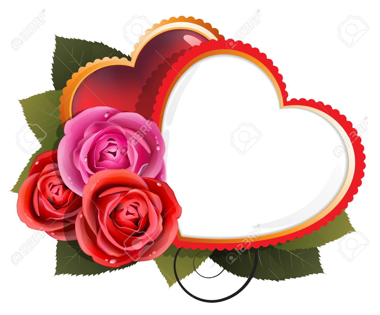 Valentine Hearts And Roses On A White Background Royalty Free Cliparts Vectors And Stock Illustration Image 17529199