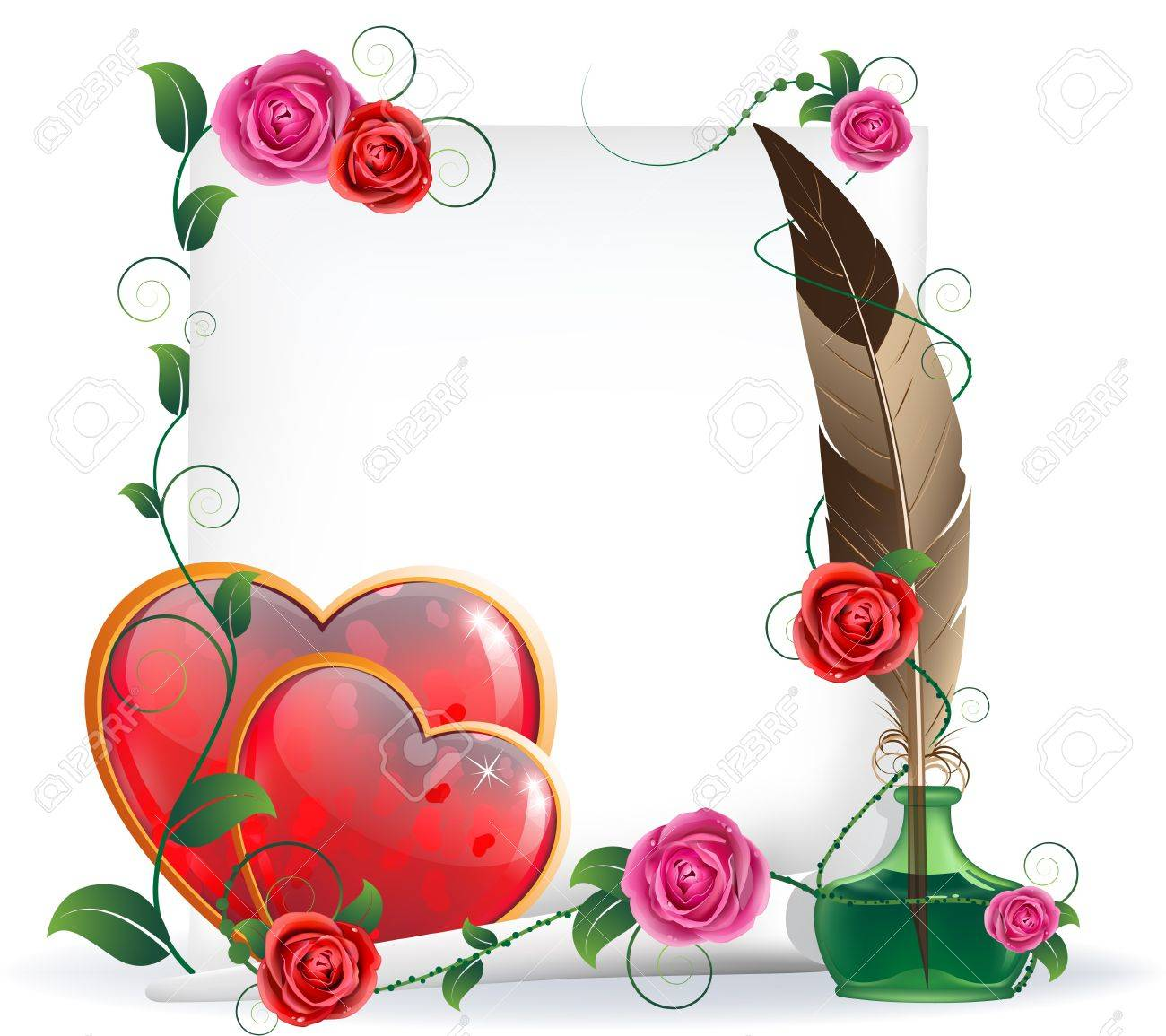 Shining hearts with floral pattern, parchment, inkwell and feather. Valentines Day card. Stock Vector - 17778920