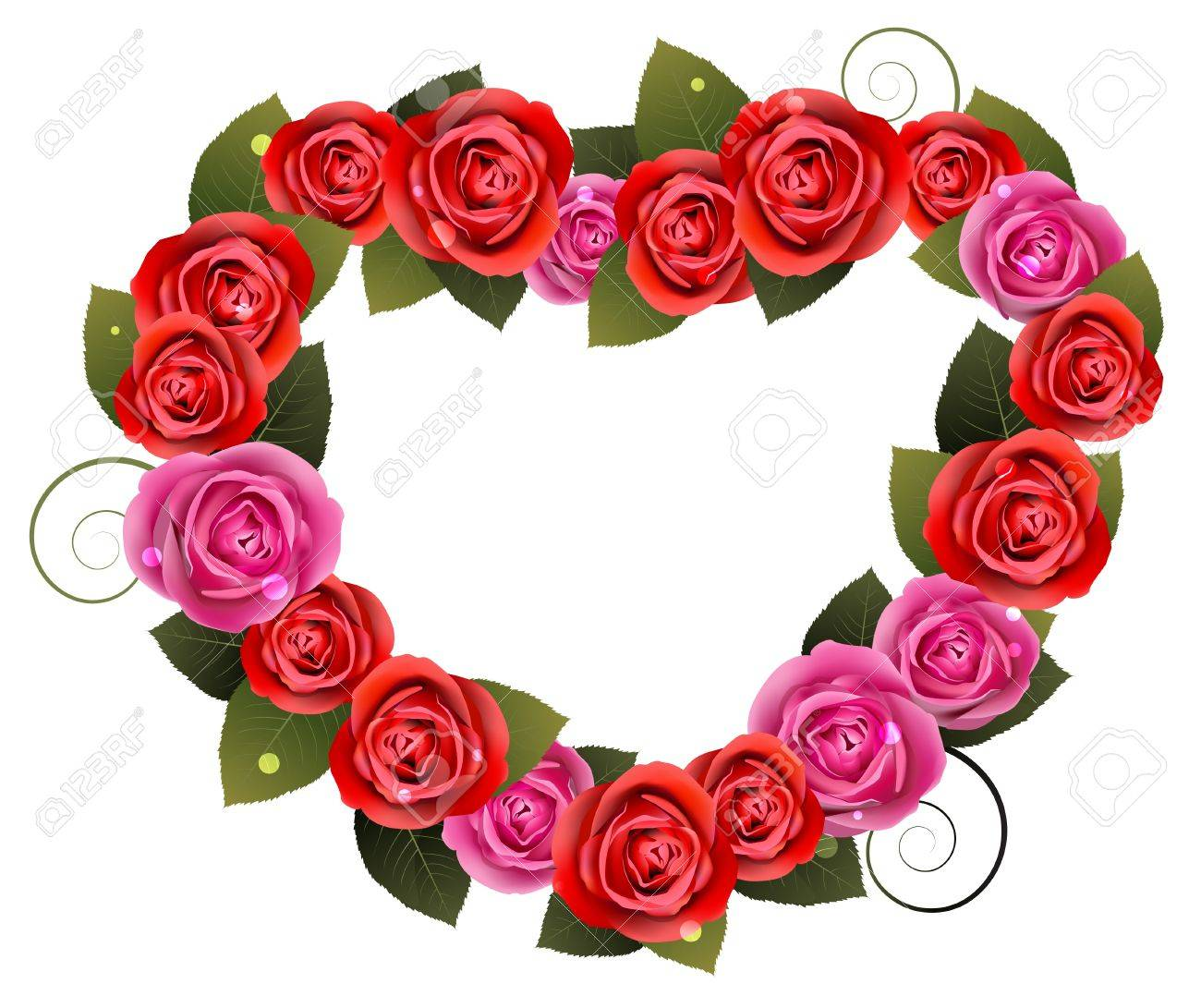 Heart shaped roses on a white background Stock Vector - 17778928