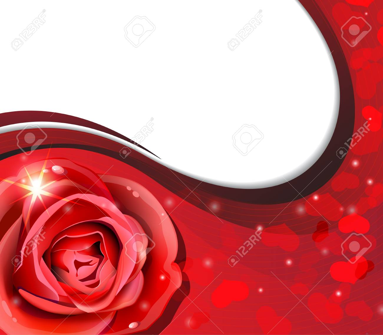 Red rose on a wavy red background Stock Vector - 17778896