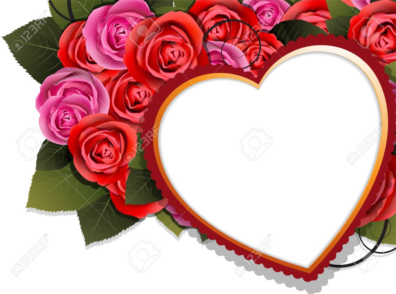 Valentine heart and roses on a white background Stock Vector - 17778912