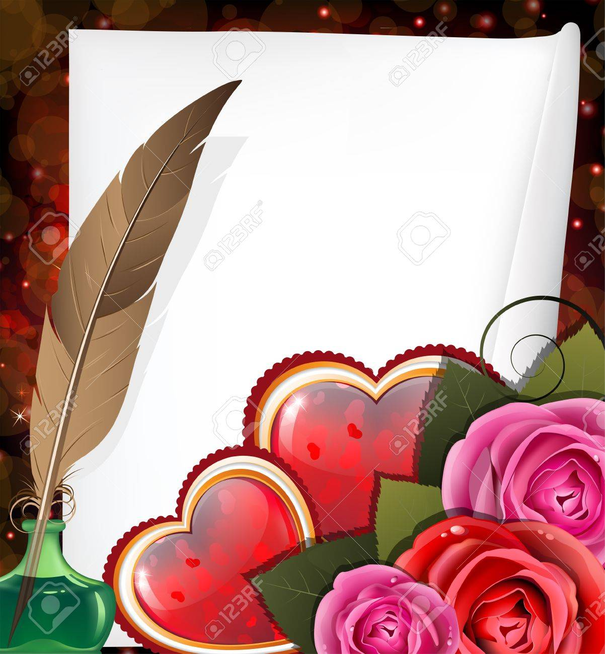 Shining hearts with roses, parchment, inkwell and feather. Valentines Day card. Stock Vector - 17778919