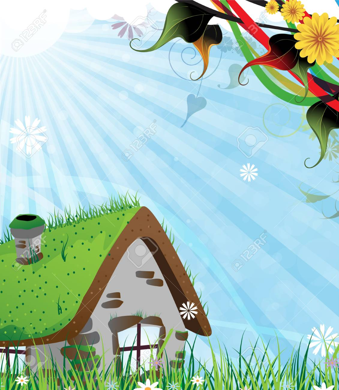 Small brick house on a green spring meadow Stock Vector - 17778929