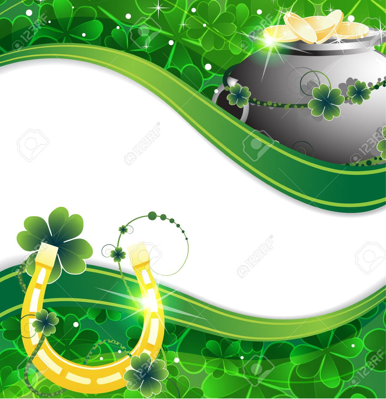 Pot of gold coins and  horseshoe on a clover background Stock Vector - 18315490