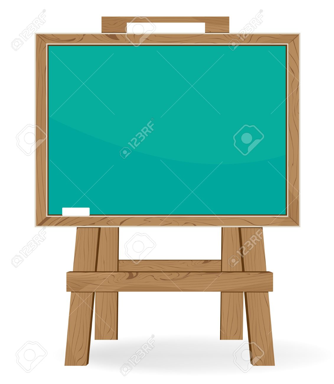 Blackboard and piece of chalk on a white background. Education symbol - 18592295