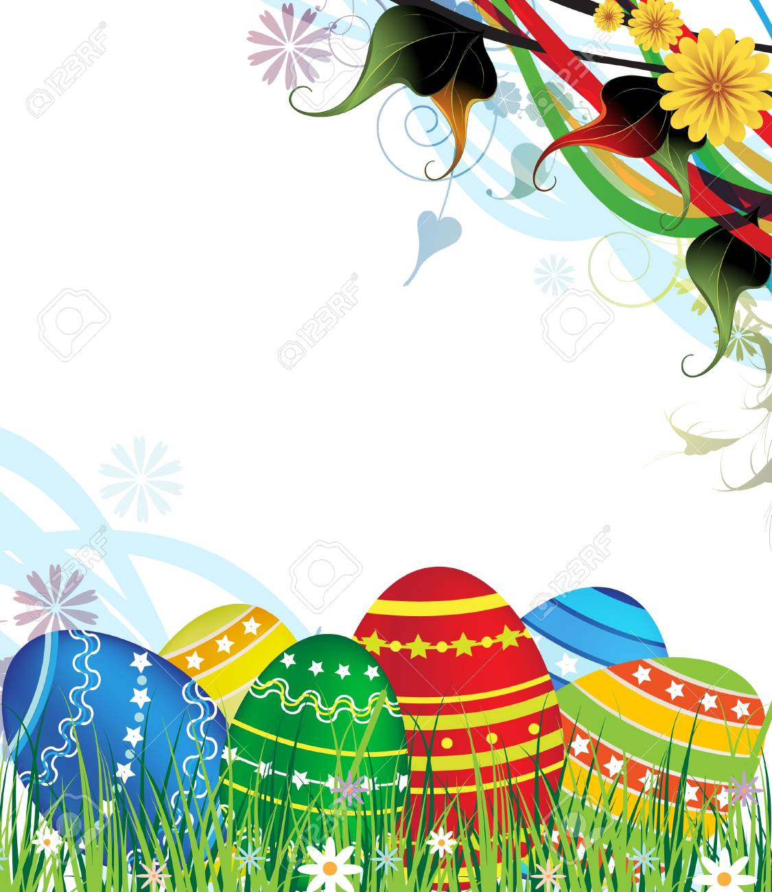 Easter eggs on a spring meadow Stock Vector - 18592319