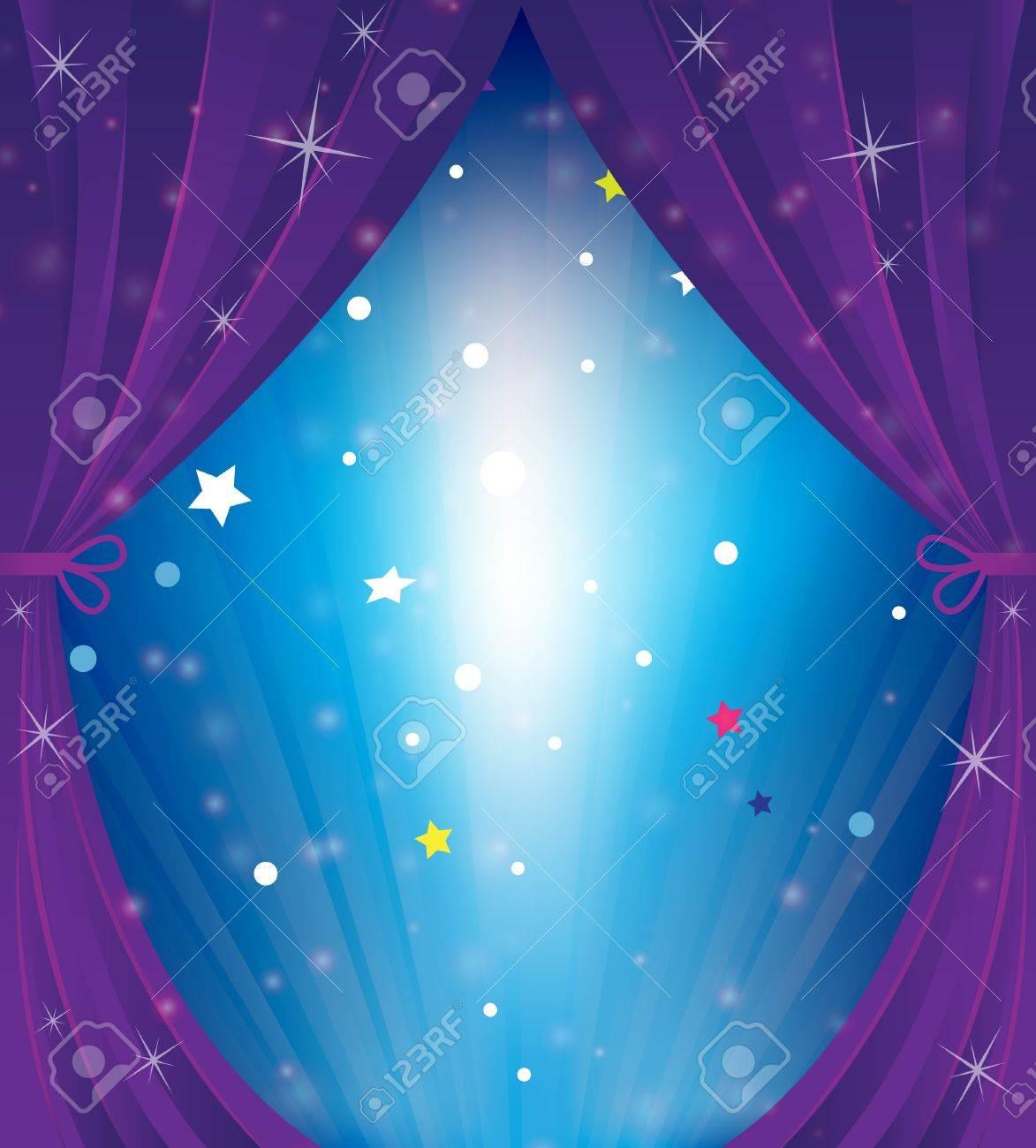 Sparkling theater curtain  Cartoon background Stock Vector - 18592325