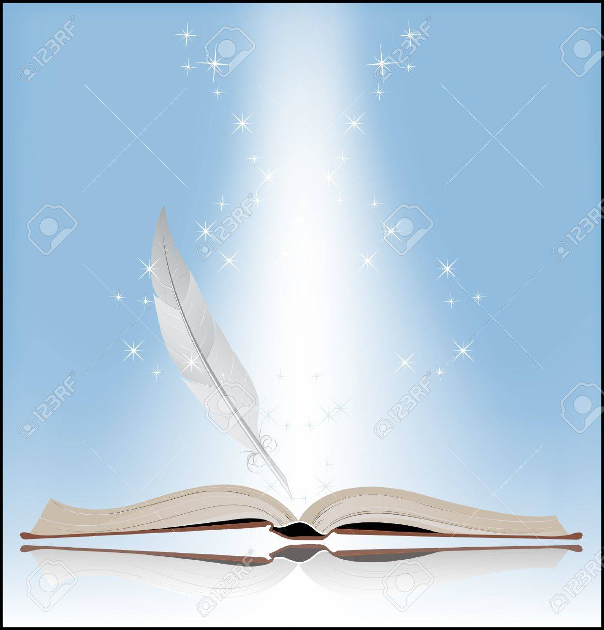 Book on a blue background Symbol of Knowledge - 18592273