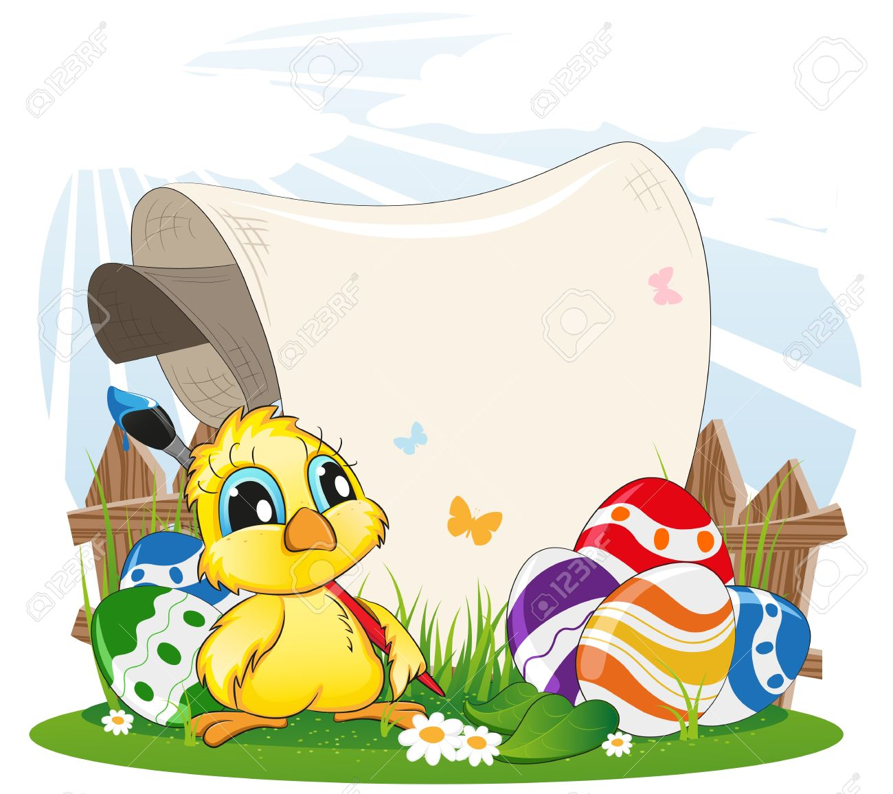Cartoon chicken with paintbrush and Easter eggs on spring meadow Stock Vector - 18879992