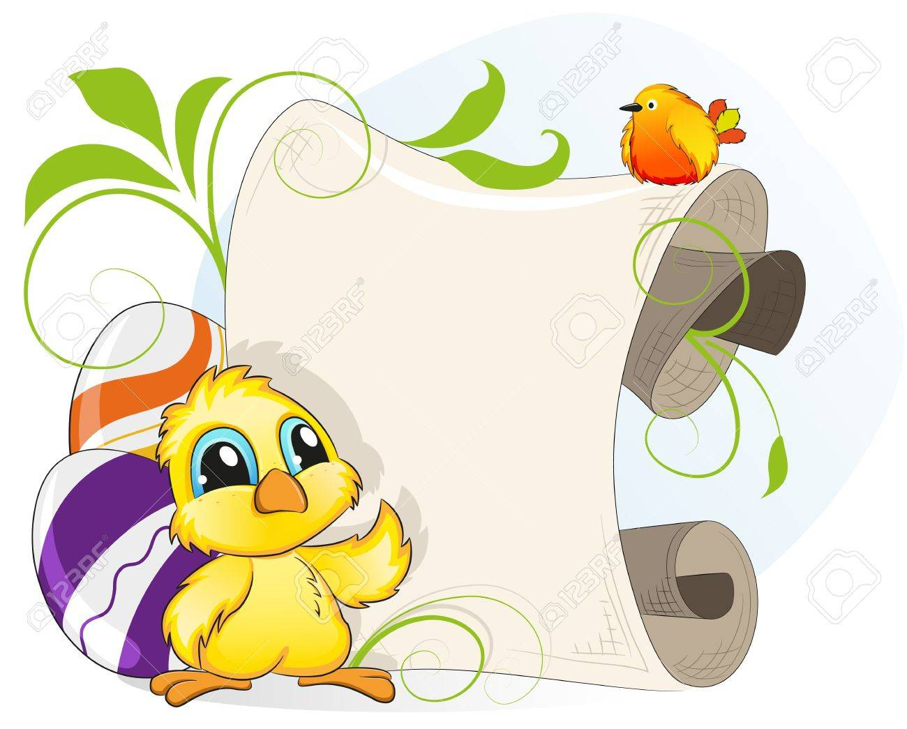Cartoon chicken and little bird on a background of Easter eggs and parchment Stock Vector - 18879977