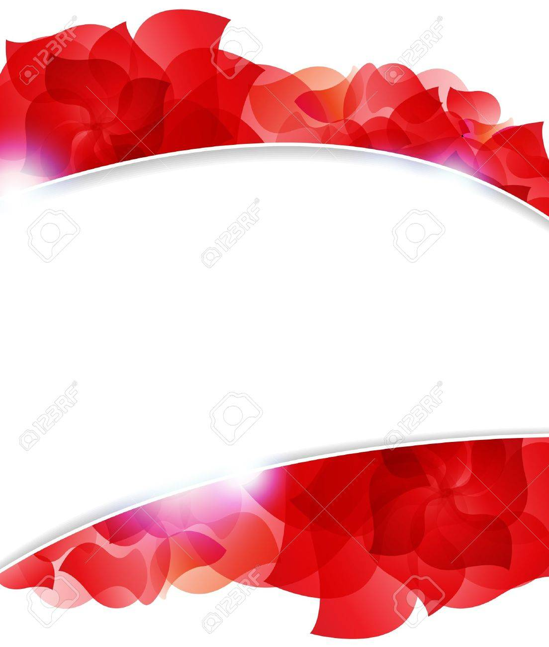 Transparent red petals on a white background. Abstract frame with place for text - 19086981
