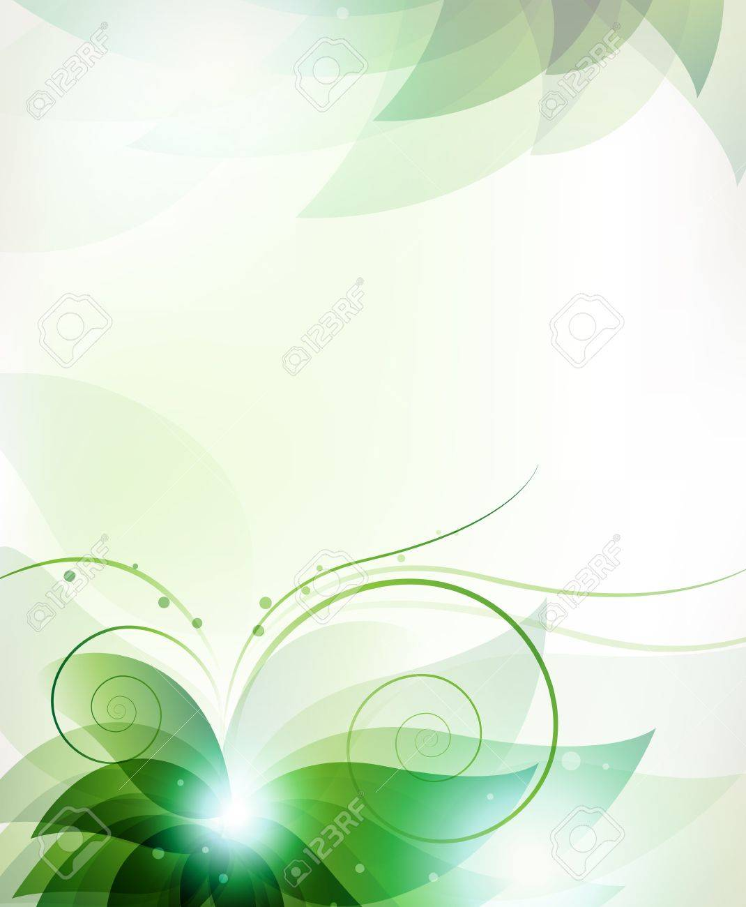 Transparent green flower. Abstract floral card with place for text - 21699659