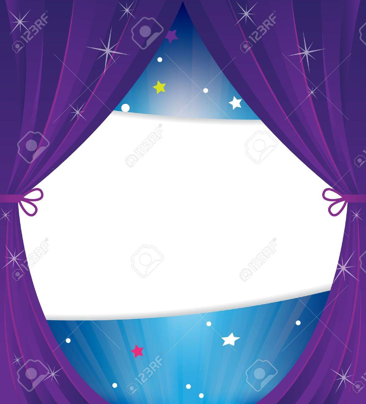 Theater curtain with stars and sparks.Abstract cartoon background - 21699821
