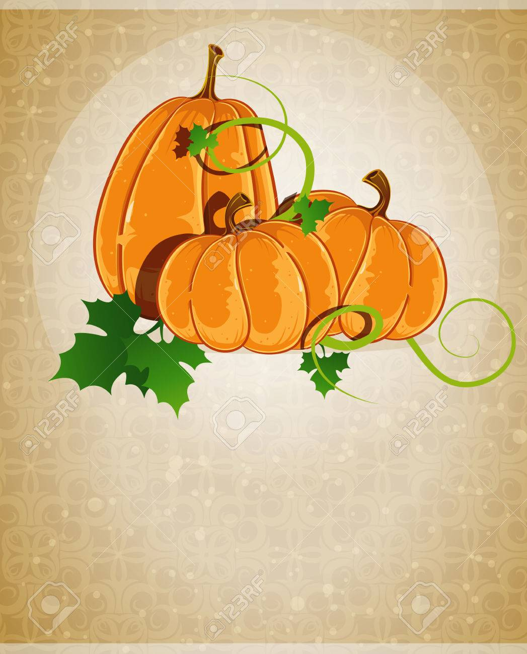 Three pumpkins with sprouts and leaves on a beige background with retro patterns - 22498490
