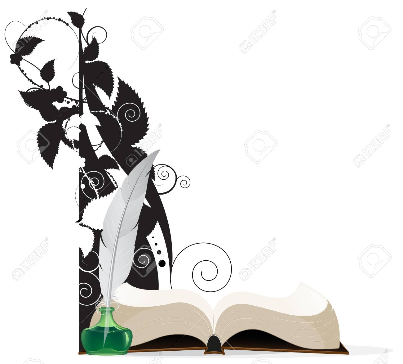 Open hardcover book and floral silhouettes on a white background. Stock Vector - 22910414