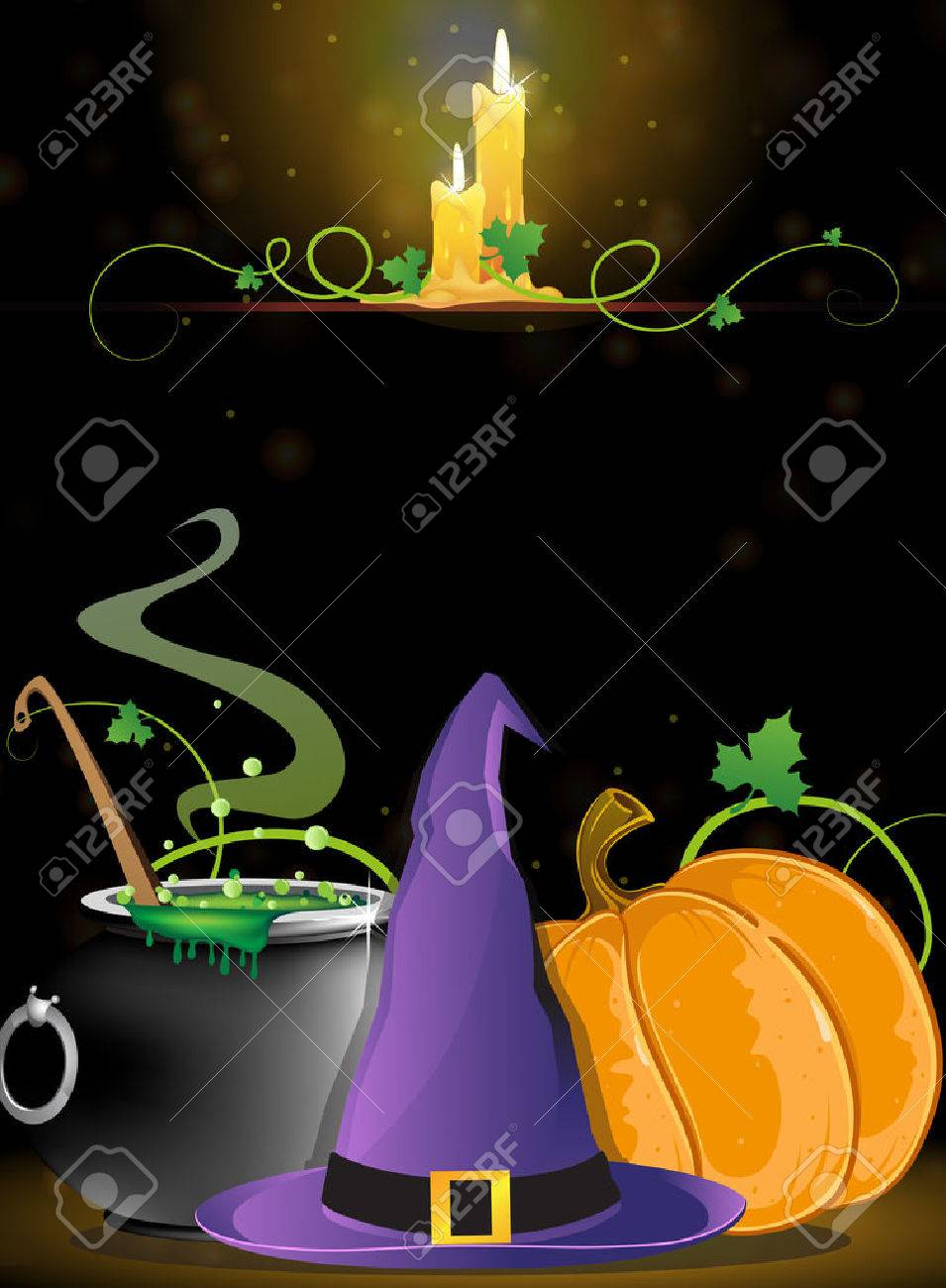 Witch hat, boiling cauldron, pumpkin and burning candles on a dark background - 22910592